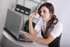 Working with a laptop Royalty Free Stock Photos
