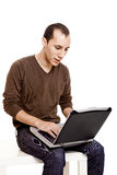 Working with a laptop Royalty Free Stock Image