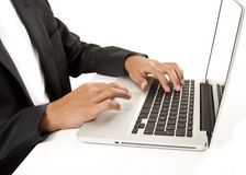 Working with laptop stock photography