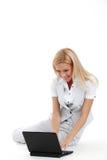 Working on laptop Stock Photos