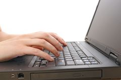 Working on laptop Stock Image