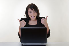 Working on the laptop Stock Images