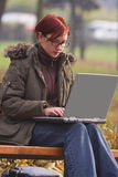 Working on a laptop Stock Photos