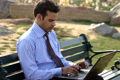 Working on laptop. Young executive working on a laptop in a park Royalty Free Stock Photo