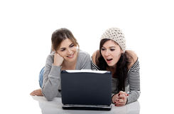 Working with a Laptop Royalty Free Stock Images