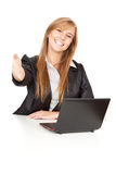 Working on laptop business woman Royalty Free Stock Image