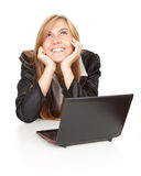 Working on laptop business woman Royalty Free Stock Photo
