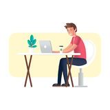 Working with laptop. Cartoon character in semi flat design. Flat 2.0 vector. Working with laptop. Cartoon character in semi flat design. Flat 2.0 style color Stock Photography