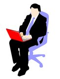 Working on a laptop computer. Businessman sitting at the chair and working on a laptop computer Royalty Free Illustration