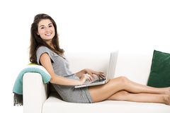 Working with a laptop at home Royalty Free Stock Photo
