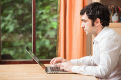 Working at Laptop Royalty Free Stock Photography