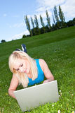 Working with a laptop in the park Stock Image