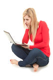 Working on laptop young woman Royalty Free Stock Photography
