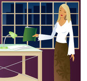 Working Late. Woman working late in the office Stock Illustration