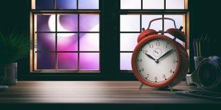 62fadc75edf67d Alarm clock on a wooden office desk. 3d illustration. Working