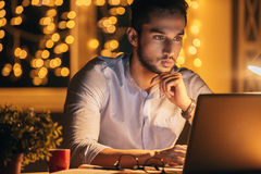 Working late. stock images