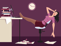 Working late and tired. Exhausted woman sitting in the office late at night, putting her legs on a desk, vector cartoon vector illustration