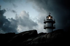 Working Lighthouse at Bad Weather Stock Photography