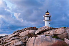 Working Lighthouse at Bad Weather Royalty Free Stock Photos