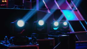 Working lighting equipment at the event. On a stage stock footage