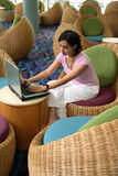 Working at Lobby Stock Image