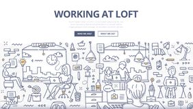Working at Loft Doodle Concept. Doodle illustration of working at loft office, shared working environment. Concept of co-working space for web banners, hero royalty free illustration