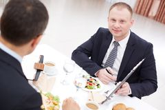 Working at lunch Royalty Free Stock Image