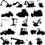 Working machines. Vector illustration of working machines silhouettes Royalty Free Stock Photos