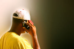 Working man. On cellular phone Royalty Free Stock Photo