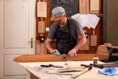 Experienced carpenter working royalty free stock image