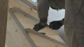 Working man causes the glue on  staircase stock footage