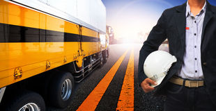 Working man and container truck use for land transport,industry Royalty Free Stock Photos