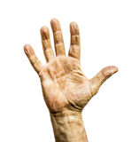 Working man dirty rough hand isolated Stock Photos