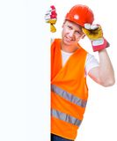 Working man  holding a white blank Royalty Free Stock Photos