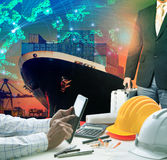 Working man and investor against container ship in port use for Royalty Free Stock Photos