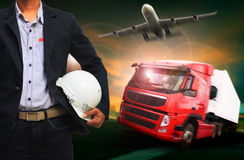 Working man in land by truck and air by plane logistic industry Stock Photo