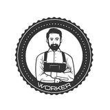 Working man for logo template. Black and white object Royalty Free Stock Images