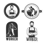 Working man for logo template. Black and white object Stock Photo