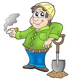 Working man - pause. Working man's pause - color illustration Royalty Free Stock Image