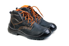 Working man`s boots black Royalty Free Stock Photos