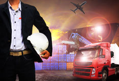 Working man in shipping port,freight cargo ,logistic and import,. Export business royalty free stock photos
