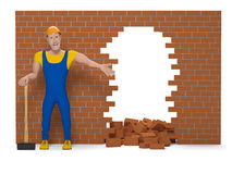 Working man with a sledgehammer destroys a brick wall Royalty Free Stock Photos