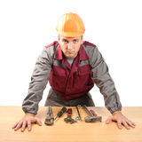 Working man with tools royalty free stock photos