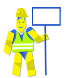 Working man and white board Royalty Free Stock Image