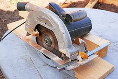 Working manual circular saw Stock Image