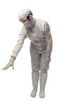Working in the mask and the white suit Stock Photography