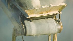 Working mechanism of the old stone crusher close up Royalty Free Stock Images