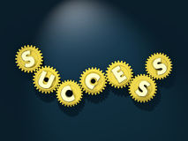 Working mechanism of success. Turning golden cogwheels with letters Stock Photography