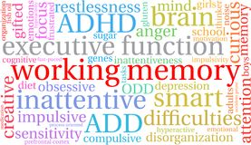 Working Memory Word Cloud. Working Memory ADHD word cloud on a white background Stock Photos