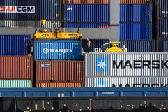 Working men in container terminal Nijmegen royalty free stock photo